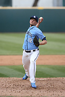 Sean Berry (12) of the University of San Diego Toreros pitches against the UCLA Bruins at Jackie Robinson Stadium on March 4, 2017 in Los Angeles, California.  USD defeated UCLA, 3-1. (Larry Goren/Four Seam Images)