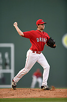 Starting pitcher Hunter Haworth (20) of the Greenville Drive in a game against the Rome Braves on Friday, April 13, 2018, at Fluor Field at the West End in Greenville, South Carolina. Rome won, 10-6. (Tom Priddy/Four Seam Images)