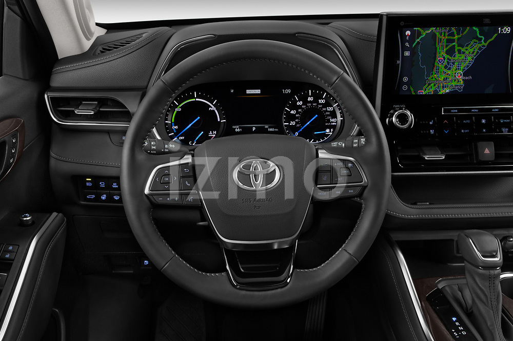 Car pictures of steering wheel view of a 2021 Toyota Highlander-Hybrid Limited 5 Door SUV Steering Wheel