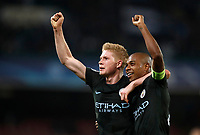 Football Soccer: UEFA Champions League Napoli vs Mabchester City San Paolo stadium Naples, Italy, November 1, 2017. <br /> Manchester City's Kevin De Bruyne (l) and captain Fernandinho (r) celebrate after winning 4-2 the Uefa Champions League football soccer match between Napoli and Manchester City at San Paolo stadium, November 1, 2017.<br /> UPDATE IMAGES PRESS/Isabella Bonotto