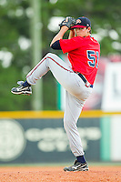 Starting pitcher Adam Holland #51 of the Danville Braves in action against the Burlington Royals at Burlington Athletic Park on August 14, 2011 in Burlington, North Carolina.  The Braves defeated the Royals 10-2 in a game called by rain in the bottom of the 8th inning.   (Brian Westerholt / Four Seam Images)