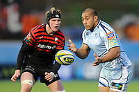 20130127 Copyright onEdition 2013©.Free for editorial use image, please credit: onEdition..Taufa'ao Filise of Cardiff Blues passes in front of Tom Jubb of Saracens during the LV= Cup match between Saracens and Cardiff Blues at Allianz Park on Sunday 27th January 2013 (Photo by Rob Munro)..For press contacts contact: Sam Feasey at brandRapport on M: +44 (0)7717 757114 E: SFeasey@brand-rapport.com..If you require a higher resolution image or you have any other onEdition photographic enquiries, please contact onEdition on 0845 900 2 900 or email info@onEdition.com.This image is copyright onEdition 2013©..This image has been supplied by onEdition and must be credited onEdition. The author is asserting his full Moral rights in relation to the publication of this image. Rights for onward transmission of any image or file is not granted or implied. Changing or deleting Copyright information is illegal as specified in the Copyright, Design and Patents Act 1988. If you are in any way unsure of your right to publish this image please contact onEdition on 0845 900 2 900 or email info@onEdition.com