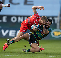 29th September 2020; Franklin Gardens, Northampton, East Midlands, England; Premiership Rugby Union, Northampton Saints versus Sale Sharks; Robert du Preez of Sale Sharks is tackled by Matt Proctor of Northampton Saints