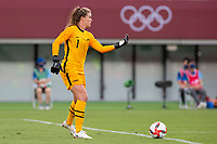 TOKYO, JAPAN - JULY 21: Alyssa Naeher #1 of the United States looks to make a pass during a game between Sweden and USWNT at Tokyo Stadium on July 21, 2021 in Tokyo, Japan.