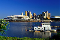 Cincinnati, skyline, stadium, OH, Ohio, Cinergy Field, downtown skyline, Ohio River.