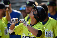 Shortstop Andres Gimenez (13) of the Columbia Fireflies looks up to the sky after scoring a run in a game against the Rome Braves on Sunday, August 20, 2017, at Spirit Communications Park in Columbia, South Carolina. Rome won, 11-6 in 16 innings. (Tom Priddy/Four Seam Images)