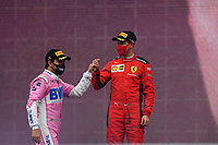 15th November 2020; Istanbul Park, Istanbul, Turkey; FIA Formula One World Championship 2020, Grand Prix of Turkey, Race Day; 2nd placed Sergio Perez MEX, BWT Racing Point F1 Team and 3rd placed 5 Sebastian Vettel GER, Scuderia Ferrari Mission Winnow
