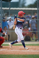 Noah Miller (19) during the WWBA World Championship at Lee County Player Development Complex on October 11, 2020 in Fort Myers, Florida.  Noah Miller, a resident of Fredonia, Wisconsin who attends Ozaukee High School, is committed to Alabama.  (Mike Janes/Four Seam Images)