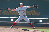Luke Harrison #28 of the Indiana Hoosiers pitches against the Long Beach State Dirtbags at Blair Field on March 15, 2014 in Long Beach, California. Indiana defeated Long Beach State 2-1. (Larry Goren/Four Seam Images)