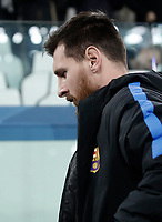 Football Soccer: UEFA Champions League Juventus vs FC Barcelona Allianz Stadium. Turin, Italy, November 22, 2017. <br /> FC Barcelona's Lionel Messi reaches the bench before the start of the Uefa Champions League football soccer match between Juventus and FC Barcelona at Allianz Stadium in Turin, November 22, 2017.<br /> UPDATE IMAGES PRESS/Isabella Bonotto