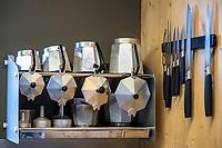 A selection of Moka pots inside a mountain hut