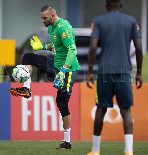 10th November 2020; Granja Comary, Teresopolis, Rio de Janeiro, Brazil; Qatar 2022 qualifiers; Weverton of Brazil during training session in Granja Comary