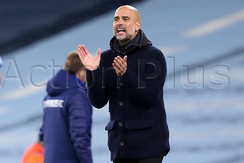 3rd November 2020; City of Manchester Stadium, Manchester, England. UEFA Champions League group stages, Manchester City versus Olympiacos;  Manchester City Trainer Josep Guardiola urges his team on