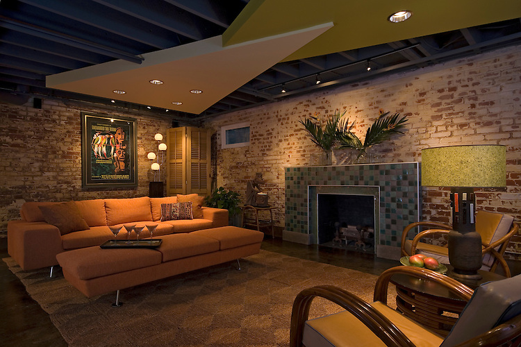 An Award Winning Design of Richmond Basement Remodel by Cabinetry-Construction, Inc. This remodel features a unique drywall treatment on the ceiling that creates an interesting architectural detail.