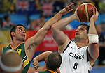 Joey Johnson (8) of Winnipeg takes a shot over Tristan Knowles of Australia in the gold medal game in men's wheelchair basketball action in Beijing during the Paralympic Games, Tuesday, Sept., 16, 2008.    Photo by Mike Ridewood/CPC
