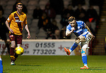 Motherwell v St Johnstone..30.12.15  SPFL  Fir Park, Motherwell<br /> Steven MacLean's shot is tipped round the post by keeper Connor Ripley<br /> Picture by Graeme Hart.<br /> Copyright Perthshire Picture Agency<br /> Tel: 01738 623350  Mobile: 07990 594431