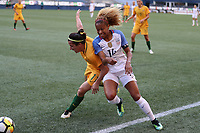 Seattle, WA - Thursday July 27, 2017: Casey Short and Lisa De Vanna during a 2017 Tournament of Nations match between the women's national teams of the United States (USA) and Australia (AUS) at CenturyLink Field.