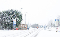 General view of Adam Park Stadium in snow where NHS vaccines go ahead as local council clear areas of snow - Snow and bad weather hits High Wycombe during the  at  on the 24 January 2021. Photo by Andy Rowland.