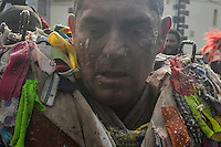 Carlos Calle Rodríguez 47 gets dressed as Jarramplas to make his way through the streets beating his drum during the Jarramplas Festival on January 20, 2015 in Piornal, Spain. The centuries old Jarramplas festival takes place annually every January 19-20 on Saint Sebastian Day. Even though the exact origins of the festival are not known, various theories exist including the mythological punishment of Caco by Hercules, a relation to ceremonies celebrated by the American Indians that were seen by the first conquerors, to a cattle thief ridiculed and expelled by his village neighbours. It is generally believed to symbolize the expulsion of everything bad. This year the people who represented Jarramplas were Angel Cerro Fernandez on 19 January and Carlos Calle Rodríguez 47 and Raúl Beites Sánchez 34 on 20 January. (c) Pedro ARMESTRE