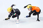 Elena Viviani of Italy being followed during the Short Track Speed Skating as part of the 2014 Sochi Olympic Winter Games at Iceberg Skating Palace on February 10, 2014 in Sochi, Russia. Photo by Victor Fraile / Power Sport Images