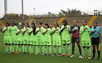 BOGOTÁ - COLOMBIA, 28-03-2018:Formación de La Equidad  contra  Patriotas de Boyacá   durante partido por  la sexta Fecha de Liga Aguila Femenina 2018 jugado en el estadio Metropolitano de Techo de la ciudad de Bogotá. / Team of Equidad agaisnt Patriotas of Boyaca c during the match for the date 6 of the Women's Aguila  League 2018 played at the Metroplitano de Techo  Stadium in Bogota city. Photo: VizzorImage / Felipe Caicedo / Staff.
