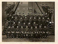 BNPS.co.uk (01202 558833)<br /> Pic: Lockdales/BNPS<br /> <br /> Pictured: John Cornford pictured in a New Cross London Fire Brigade Drill Class in August 1920. <br /> <br /> The bravery medal awarded to a hero Blitz firefighter who 'ran through a wall of flames' during a dramatic rescue has emerged for sale for £4,000.<br /> <br /> Company Officer John Cornford and his station officer risked their lives to save a man collapsed on a pavement between blazing street warehouses.<br /> <br /> They dodged falling debris to carry the injured man to safety following the German bombing of London.<br /> <br /> C/Off Cornford, of the London County Council Fire Brigade, received the George Medal for gallantry for his life-saving exploits during the December 29, 1940 incident.