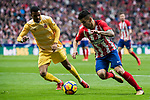 Angel Correa (R) of Atletico de Madrid fights for the ball with Jonas Ramalho Chimeno of Girona FC xduring the La Liga 2017-18 match between Atletico de Madrid and Girona FC at Wanda Metropolitano on 20 January 2018 in Madrid, Spain. Photo by Diego Gonzalez / Power Sport Images
