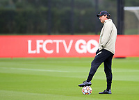 14th September 2021: The  AXA Training Centre , Kirkby, Knowsley, Merseyside, England: Liverpool FC training ahead of Champions League game versus AC Milan on 15th September: Liverpool assistant coach Peter Krawietz watches the players waming up