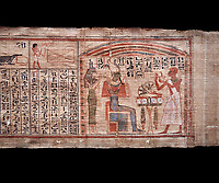 Ancient Egyptian Book of the Dead papyrus  - Scribe of Thebes Necropolis Nebhepet Book of the Dead, 21st Dynasty (1076-943C).Turin Egyptian Museum. Black background