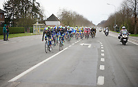peloton with Team Orica-GreenEDGE in charge<br /> <br /> Dwars Door Vlaanderen 2014