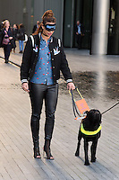 Fern McCann<br /> takes part in the Guide Dog blindfold challenge at the launch of Guide Dogs 'Move it for Money' fundraising campaign, London.<br /> <br /> <br /> ©Ash Knotek  D3158  04/10/2016