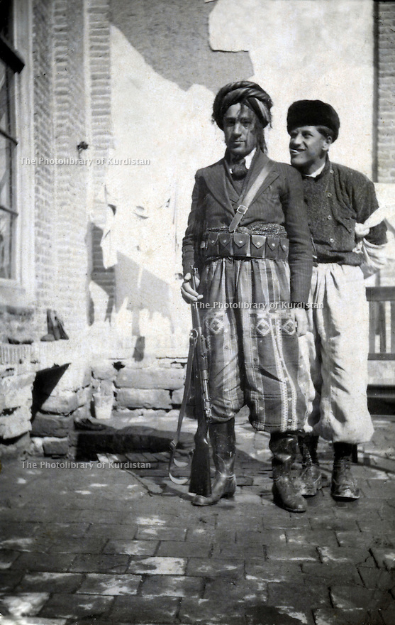 Iran 1941. Left Mohammed Amin Agha Shatavi in Rezaieh, right Mohammed Seddigh ( Pochou ), son of Taha Beg , one of the chiefs of Herki tribe <br />