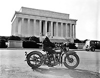 Mrs. Sally Halterman first woman to be granted a license to operate a motorcycle in the District of Columbia. 27 years old and 4 feet, 11 inches tall, she weights only 88 pounds--one-third of the machine she rides. Sept 1937.<br /> <br /> Photo by Harris & Ewing.