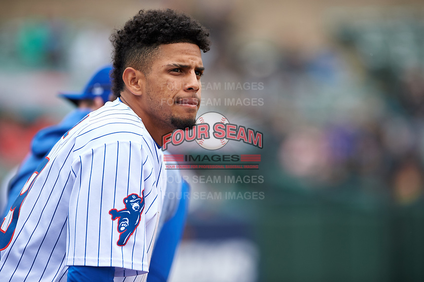 South Bend Cubs Christopher Morel (29) during a Midwest League game against the Cedar Rapids Kernels at Four Winds Field on May 8, 2019 in South Bend, Indiana. South Bend defeated Cedar Rapids 2-1. (Zachary Lucy/Four Seam Images)