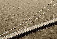 aerial photograph San Francisco Oakland Bay Bridge western suspension span empty during bridge closure