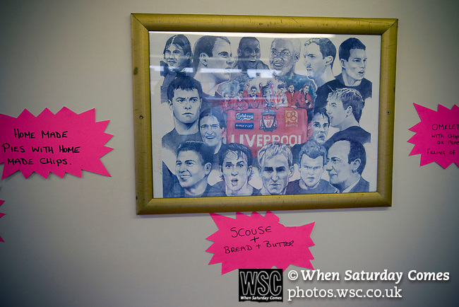 A framed team photograph in a cafe near Anfield stadium, home of Liverpool football club. Photo by Colin McPherson.