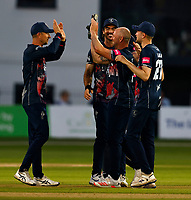 Darren Stevens of Kent is congratulated by Joe Denly (L) after taking the wicket of Eoin Morgan during Kent Spitfires vs Middlesex, Vitality Blast T20 Cricket at The Spitfire Ground on 11th June 2021