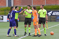 referee Baptiste Ferdico with /B21+ and Laura De Neve (8) of Anderlecht pictured during a female soccer game between RSC Anderlecht Dames and AA Gent Ladies on the fifth matchday of play off 1 of the 2020 - 2021 season of Belgian Womens Super League , saturday 8 th of May 2021  in Brussels , Belgium . PHOTO SPORTPIX.BE | SPP | STIJN AUDOOREN
