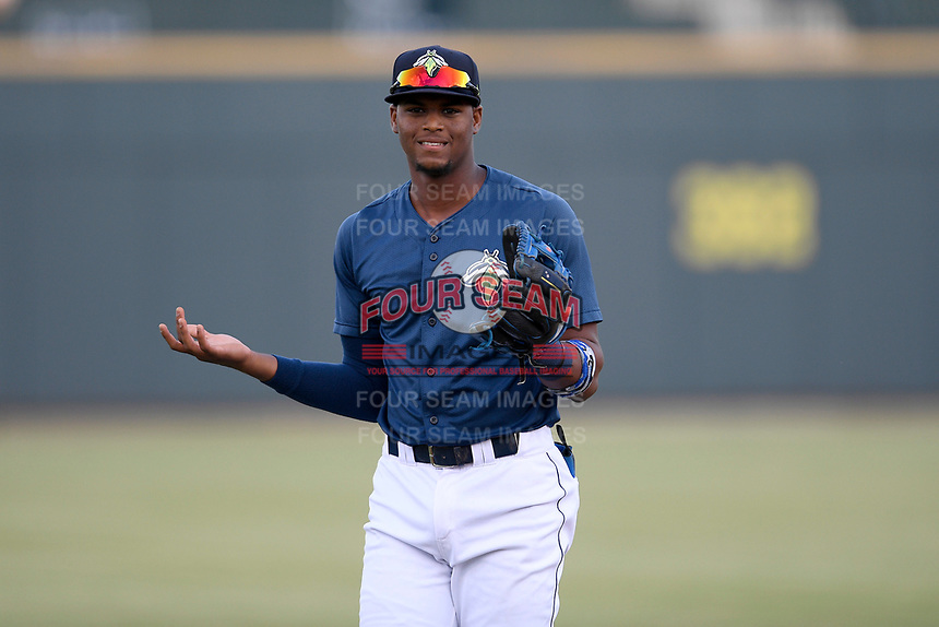 Third baseman Shervyen Newton (3) of the Columbia Fireflies warms up before a game against the Rome Braves on Tuesday, June 4, 2019, at Segra Park in Columbia, South Carolina. Columbia won, 3-2. (Tom Priddy/Four Seam Images)