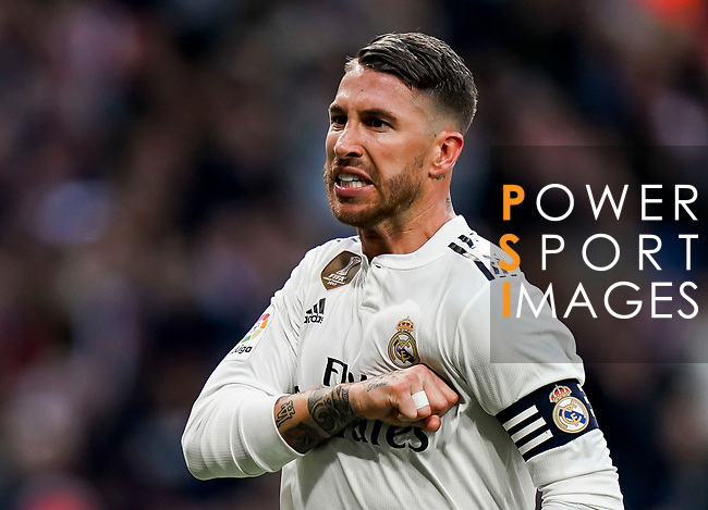 Sergio Ramos of Real Madrid celebrates scoring his goal during the La Liga 2018-19 match between Real Madrid and Real Valladolid at Estadio Santiago Bernabeu on November 03 2018 in Madrid, Spain. Photo by Diego Souto / Power Sport Images