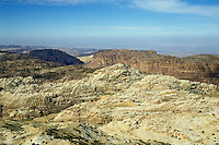 Hills and rock formations around the site of historical site of Petra, Jordan.