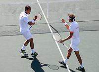 09-07-11, Tennis, South-Afrika, Potchefstroom, Daviscup South-Afrika vs Netherlands, Dubbel Robin Haase en Jesse Huta Galung(L)