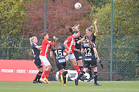 forward Sanne Schoenmakers (8 Standard) , midfielder Lotte De Wilde (19 Zulte-Waregem) , defender Pauline Windels (5 Zulte-Waregem) pictured during a female soccer game between Standard Femina de Liege and Dames SV Zulte Waregem on the fifth matchday of the 2020 - 2021 season of Belgian Scooore Womens Super League , saturday 17 th of October 2020  in Angleur , Belgium . PHOTO SPORTPIX.BE   SPP   STIJN AUDOOREN