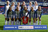 Harrison, N.J. - Sunday March 04, 2018: USWNT starting eleven during a 2018 SheBelieves Cup match between the women's national teams of the United States (USA) and France (FRA) at Red Bull Arena.