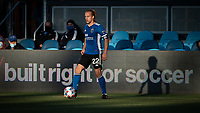 SAN JOSE, CA - MAY 22: Tommy Thompson #22 of the San Jose Earthquakes controls the ball during a game between San Jose Earthquakes and Sporting Kansas City at PayPal Park on May 22, 2021 in San Jose, California.