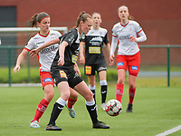 Amber De Priester (6) of Zulte-Waregem and Loes Van Mullem (33) of Eendracht Aalst  in action during a female soccer game between SV Zulte - Waregem and Eendracht Aalst on the 9 th matchday in play off 2 of the 2020 - 2021 season of Belgian Scooore Womens Super League , saturday 22 nd of May 2021  in Zulte , Belgium . PHOTO SPORTPIX.BE   SPP   DIRK VUYLSTEKE