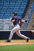 Mason Streater (8) of Boiling Springs High School in Lyman, South Carolina playing for the Cleveland Indians scout team during the East Coast Pro Showcase on August 3, 2016 at George M. Steinbrenner Field in Tampa, Florida.  (Mike Janes/Four Seam Images)