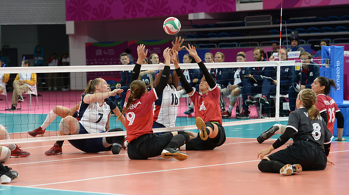 Sarah Melenka and Jennifer Oakes, Lima 2019 - Sitting Volleyball // Volleyball assis.<br /> Canada competes in women's Sitting Volleyball // Canada participe au volleyball assis féminin. 26/08/2019.