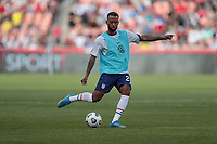 SANDY, UT - JUNE 10: Kellyn Acosta #23 of the United States warming up during a game between Costa Rica and USMNT at Rio Tinto Stadium on June 10, 2021 in Sandy, Utah.