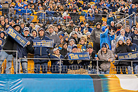 """Pitt football fans hold up """"pitt for Life"""" signs. The North Carolina Tarheels defeated the Pitt Panthers football team 34-31 at Heinz Field, Pittsburgh, Pennsylvania on November 9, 2017."""